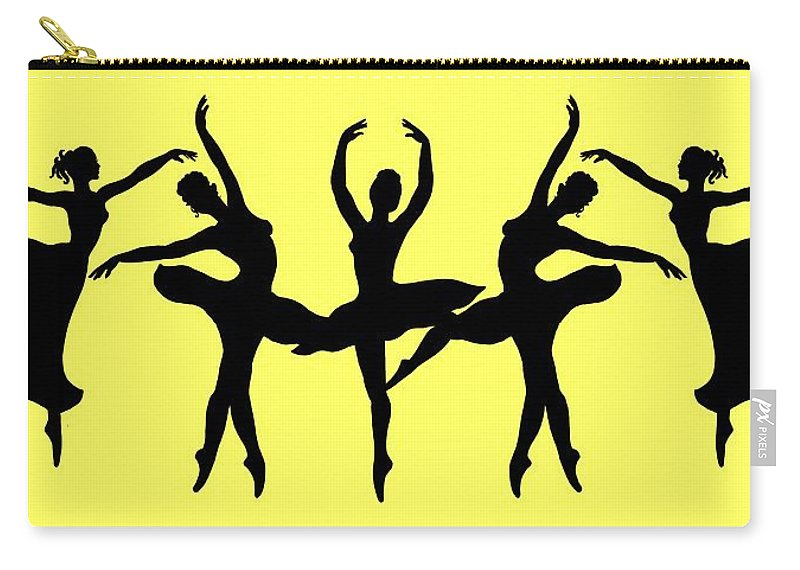 Black Silhouette Carry-all Pouch featuring the painting Dancing Ballerinas Silhouette by Irina Sztukowski