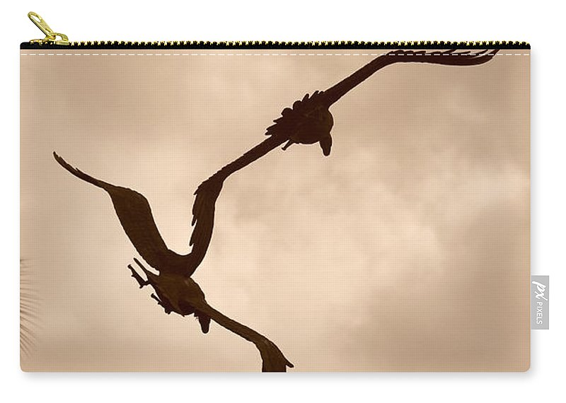 Sepia Carry-all Pouch featuring the photograph Dancing Birds by Rob Hans