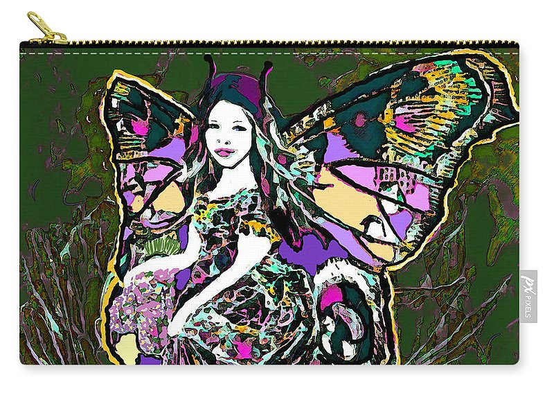 Dancing Butterfly Carry-all Pouch featuring the mixed media Dancing Butterfly by Amelia Carrie