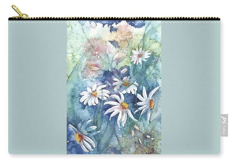 Blue Carry-all Pouch featuring the painting Dancing Daisies by Renate Nadi Wesley