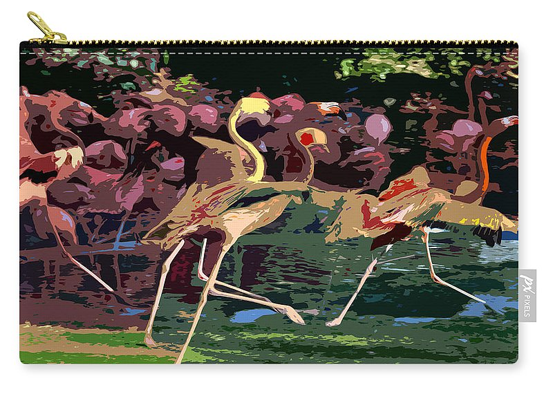 Flamingos Carry-all Pouch featuring the painting Dancing Flamingos by David Lee Thompson