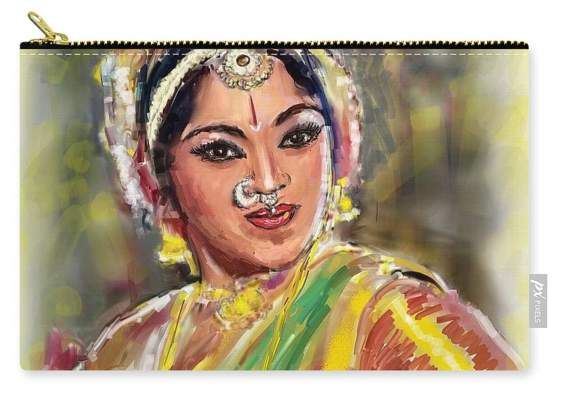 Padmini Carry-all Pouch featuring the painting Dancing Padmini by Usha Shantharam