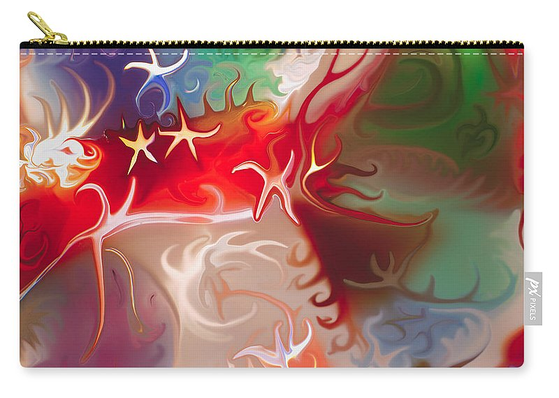 Blue Carry-all Pouch featuring the painting Dancing Stars by Omaste Witkowski