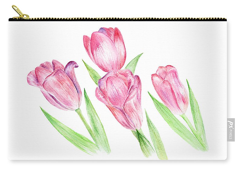 Tulip Carry-all Pouch featuring the painting Dancing Tulips by Elizabeth Lock