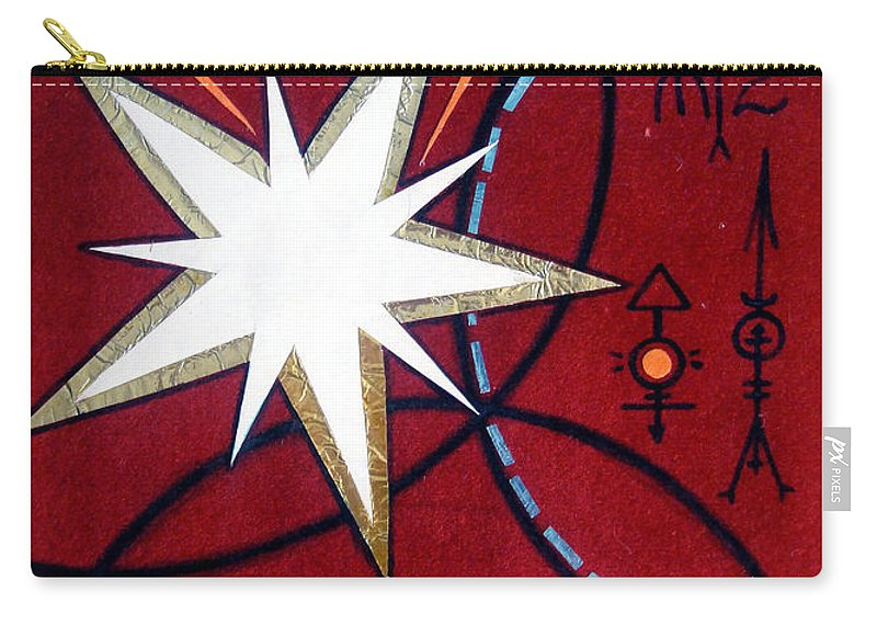Dark Carry-all Pouch featuring the painting Magical Star And Symbols. Part 1 by Sofia Metal Queen