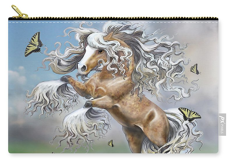 Digital Art Carry-all Pouch featuring the digital art Dancing With Butterflies by Barbara Hymer