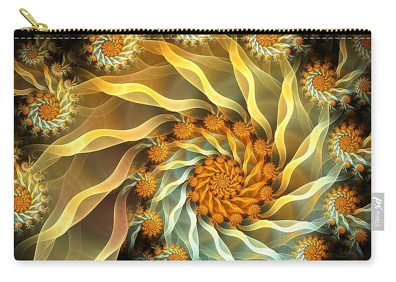 Fractal Carry-all Pouch featuring the digital art Dancing With Daisies by Amorina Ashton