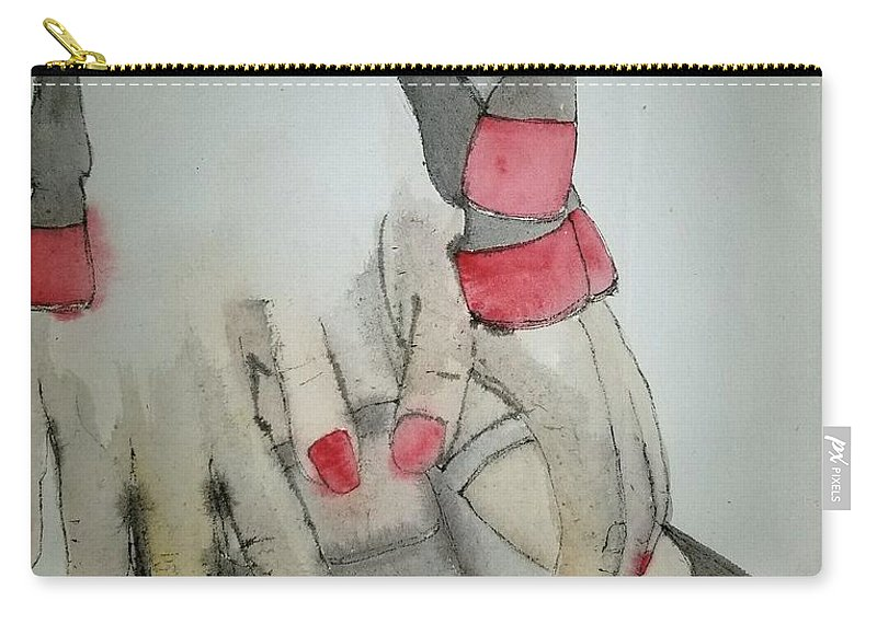 Horse. Girl. Dance Carry-all Pouch featuring the painting Dancing With Me Album by Debbi Saccomanno Chan