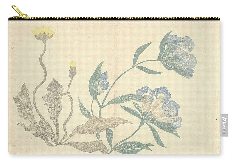 Flower Carry-all Pouch featuring the painting Dandelions And Blue Flowers, Nakamura Hochu, 1826 by Nakamura Hochu
