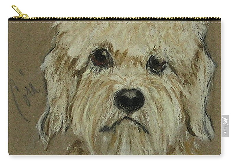 Dandie Dinmont Terrier Carry-all Pouch featuring the drawing Dandie by Cori Solomon