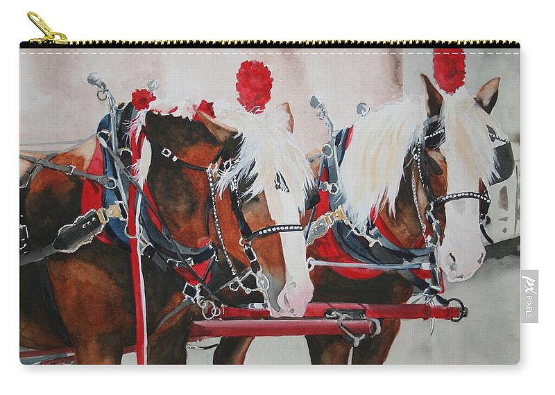 Horse Carry-all Pouch featuring the painting Dandy Duo by Jean Blackmer