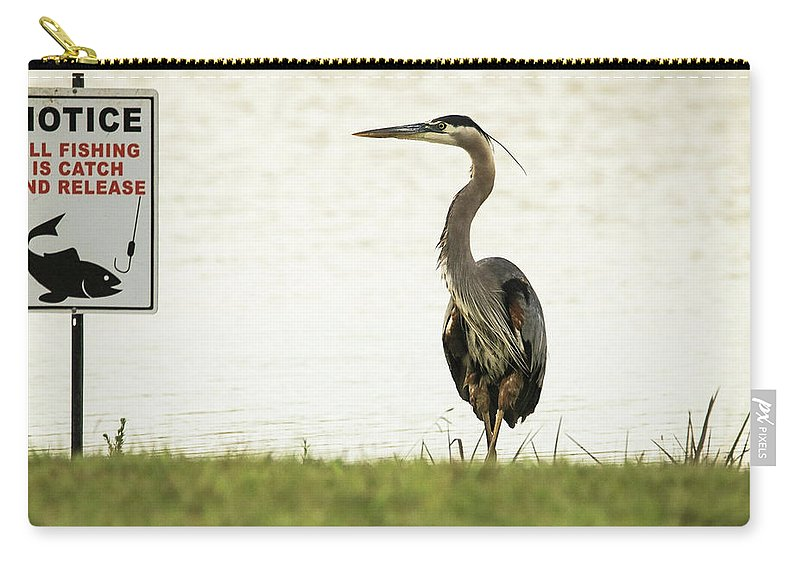 Sign Carry-all Pouch featuring the photograph Dang The Luck by Burge Darwin