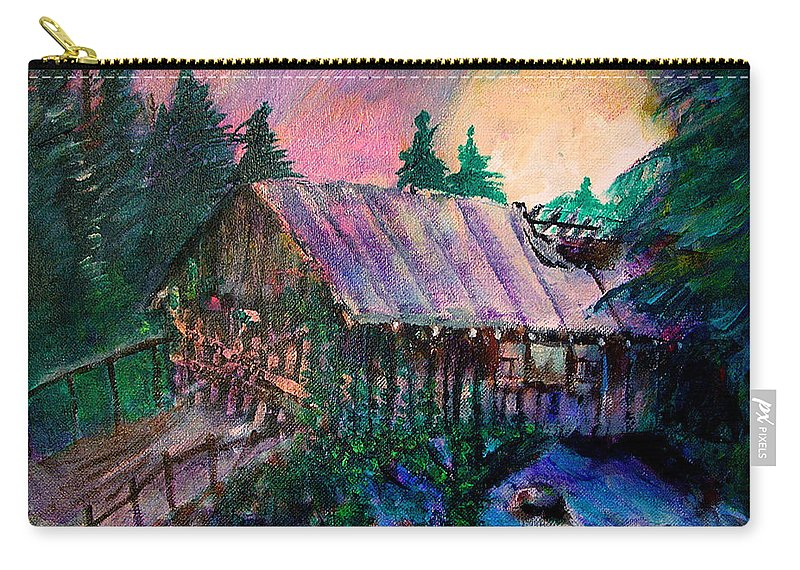 Dangerous Bridge Carry-all Pouch featuring the painting Dangerous Bridge by Seth Weaver