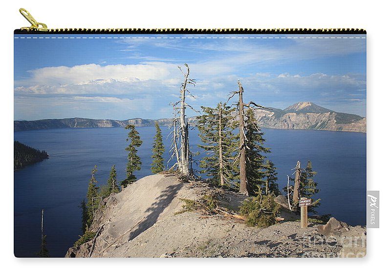 Crater Lake Carry-all Pouch featuring the photograph Dangerous Slope At Crater Lake by Carol Groenen