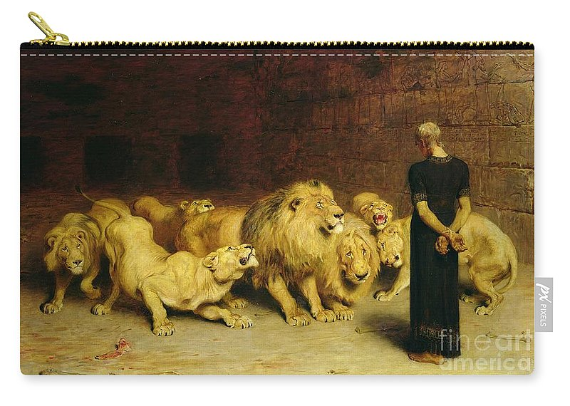 Daniel In The Lions' Den Carry-all Pouch featuring the painting Daniel in the Lions Den by Briton Riviere