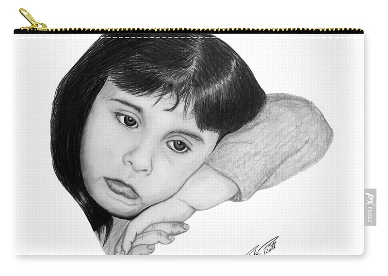 Portrait Sketch Carry-all Pouch featuring the drawing Dannie by Peter Piatt