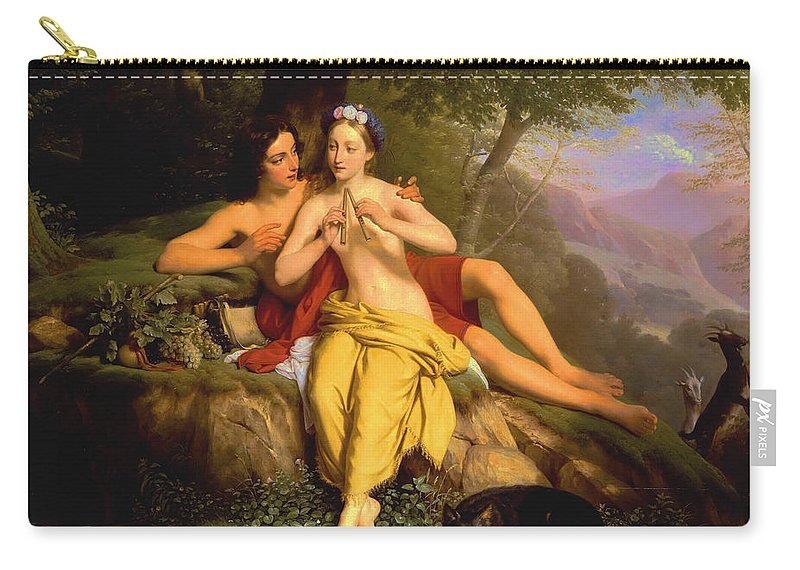 Louise Marie-jeanne Hersent-mauduit Carry-all Pouch featuring the painting Daphnis And Chloe by Louise Marie-Jeanne Hersent-Mauduit