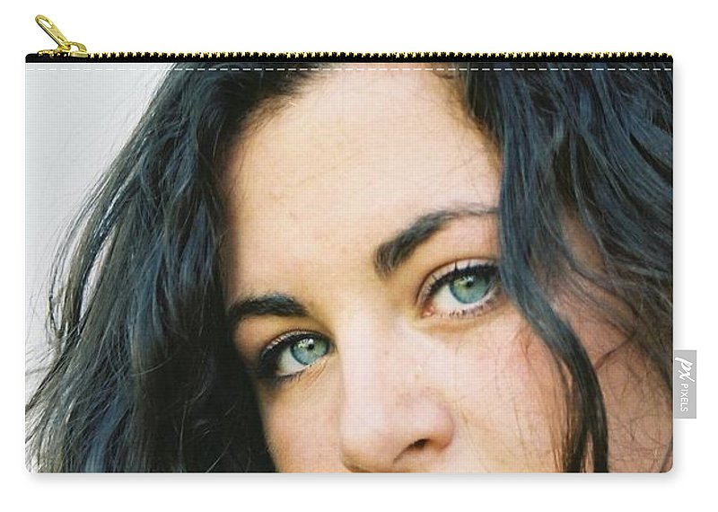 Blue Eyes Carry-all Pouch featuring the photograph Dark Beauty by Nadine Rippelmeyer