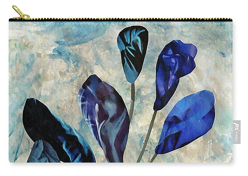 Floral Carry-all Pouch featuring the mixed media Dark Blue by Sarah Loft