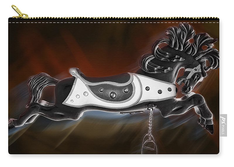 Carousel Horse Carry-all Pouch featuring the photograph Dark Horse by Kelley King