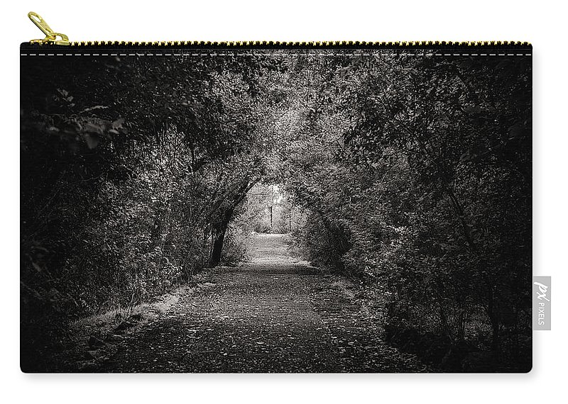 Path Carry-all Pouch featuring the photograph Dark Path In Black And White by Art Wager