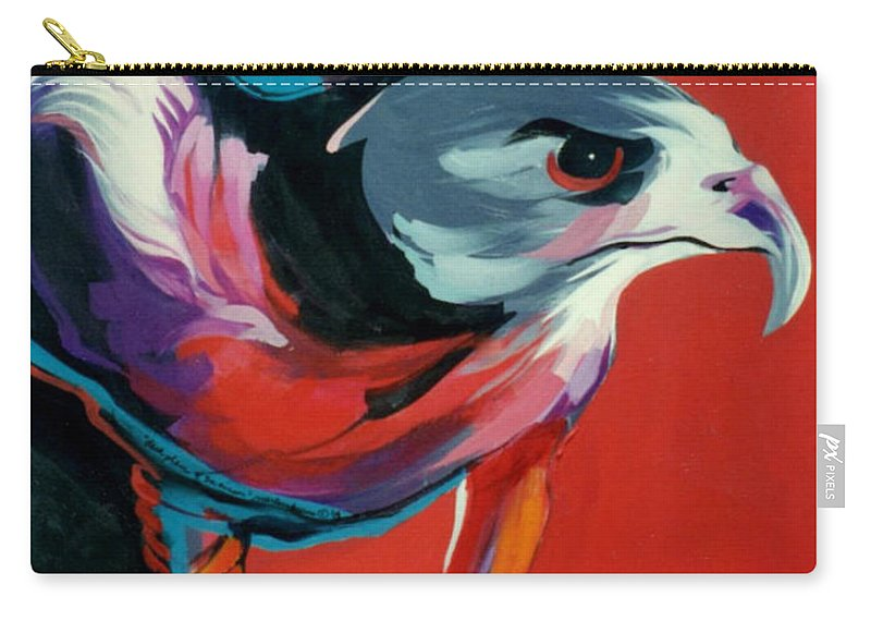 Raptor Carry-all Pouch featuring the painting Dark Phase Of Swainson by Marlene Burns
