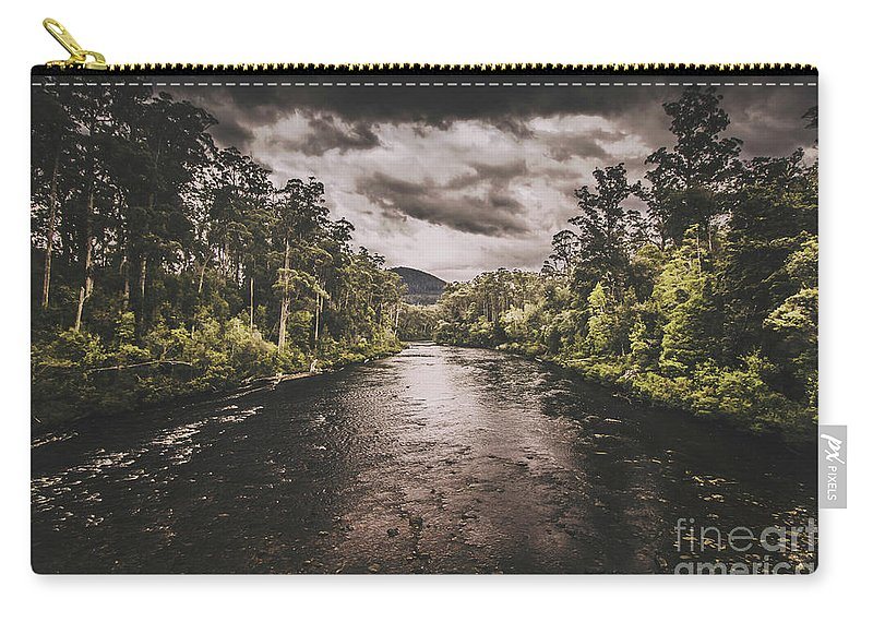 Huon River Carry-all Pouch featuring the photograph Dark River Woods by Jorgo Photography - Wall Art Gallery