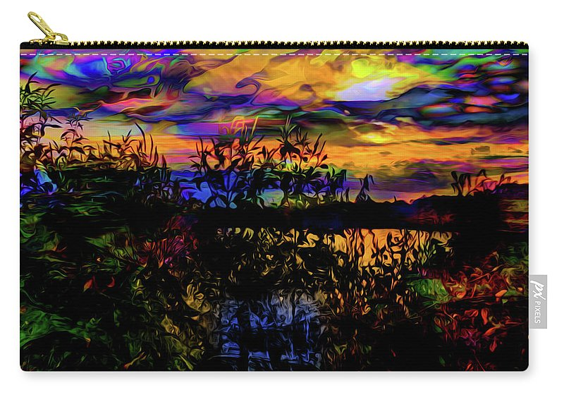 World's Carry-all Pouch featuring the digital art Dark Shadowy Sunset by Ron Fleishman