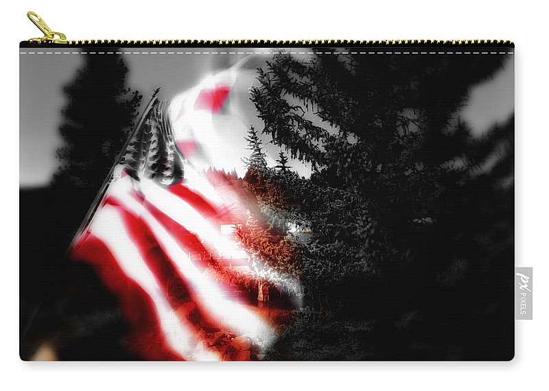 American Flag Carry-all Pouch featuring the digital art Darkness Falling On Freedom by Donna Blackhall