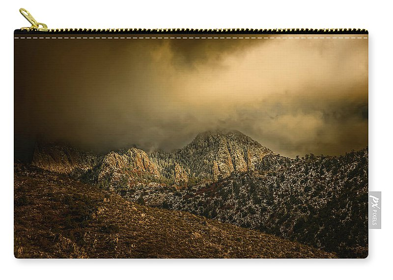 Landscape Carry-all Pouch featuring the photograph Darkness Falls Over The Sandias by Michael McKenney