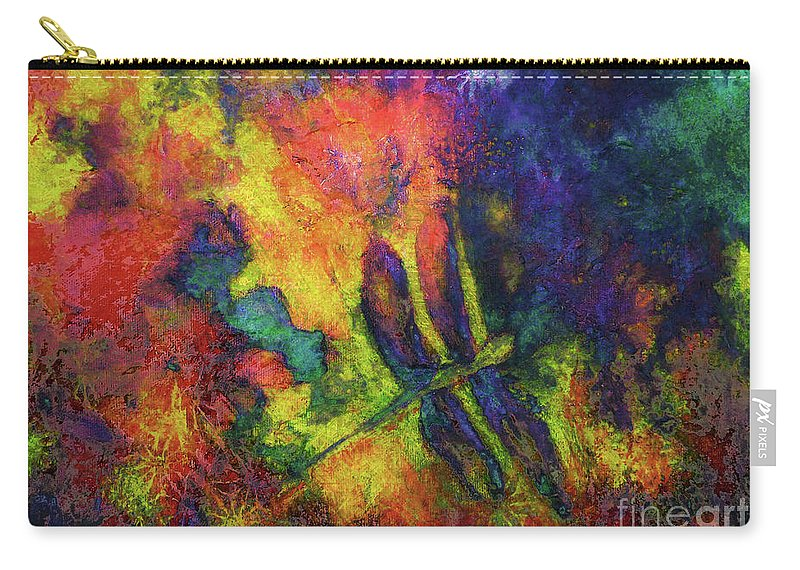 Dragonfly Carry-all Pouch featuring the painting Darling Darker Dragonfly by Claire Bull