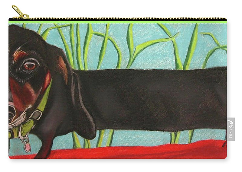 Dog Painting Carry-all Pouch featuring the pastel Dash Hound by Michelle Hayden-Marsan