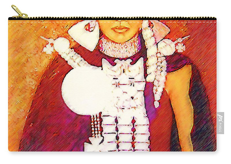 Portrait Carry-all Pouch featuring the painting Daughter Of The Bright Sun - Kushe by Madalena Lobao-Tello