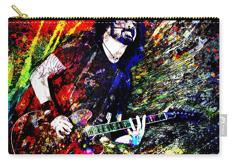 Dave Grohl Carry-all Pouch featuring the mixed media Dave Grohl Art by Ryan Rock Artist