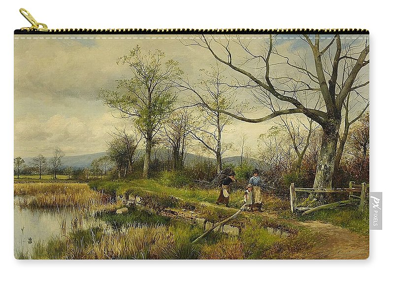 David Bates England Bullrushes Spring Carry-all Pouch featuring the painting David Bates England by MotionAge Designs