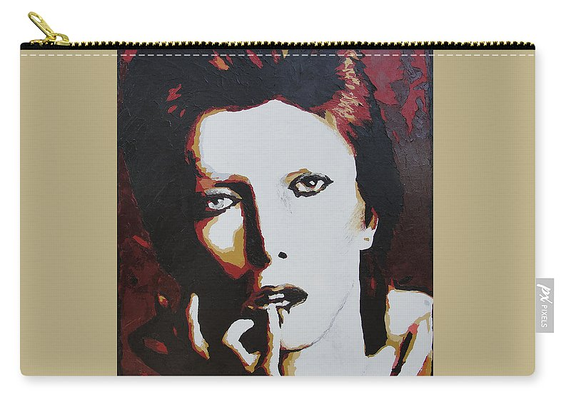 David Bowie Carry-all Pouch featuring the painting David Bowie by Ricklene Wren