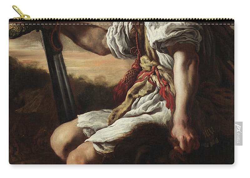 Goliath Carry-all Pouch featuring the painting David With Goliath's Crooked Head by Domenico Fetti