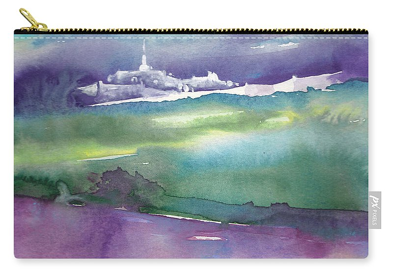 Landscapes Carry-all Pouch featuring the painting Dawn 14 by Miki De Goodaboom