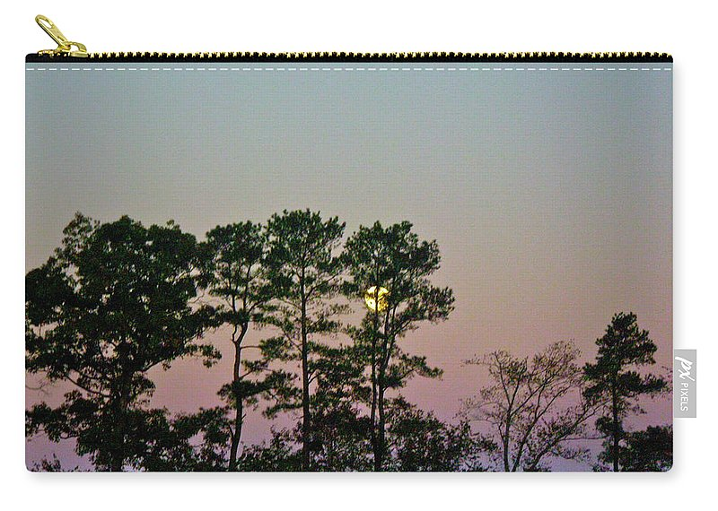 Moon Carry-all Pouch featuring the photograph Dawn And Moon Setting - Virginia by Mother Nature