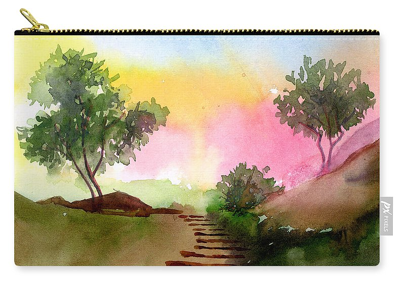 Landscape Carry-all Pouch featuring the painting Dawn by Anil Nene