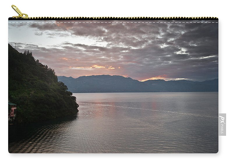 Central Carry-all Pouch featuring the photograph Dawn At Casa De Mundo Lake Atitlan 1 by Douglas Barnett