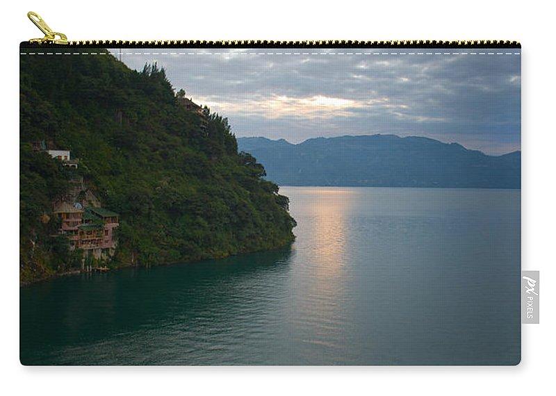 Central Carry-all Pouch featuring the photograph Dawn At Casa De Mundo Lake Atitlan 2 by Douglas Barnett