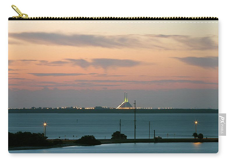 Sunshine Carry-all Pouch featuring the photograph Dawn At The Sunshine Skyway Bridge Viewed From Tierra Verde Florida by Mal Bray