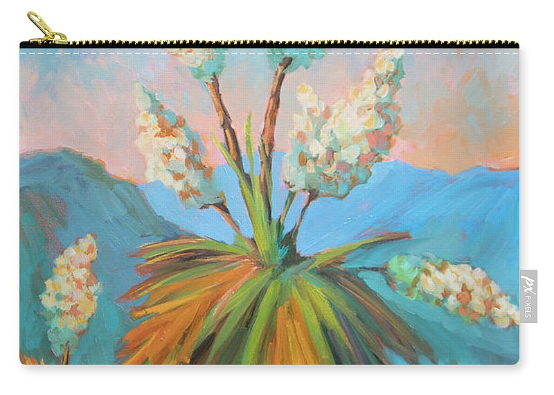 Desert Carry-all Pouch featuring the painting Dawn At Yuccaland by Diane McClary