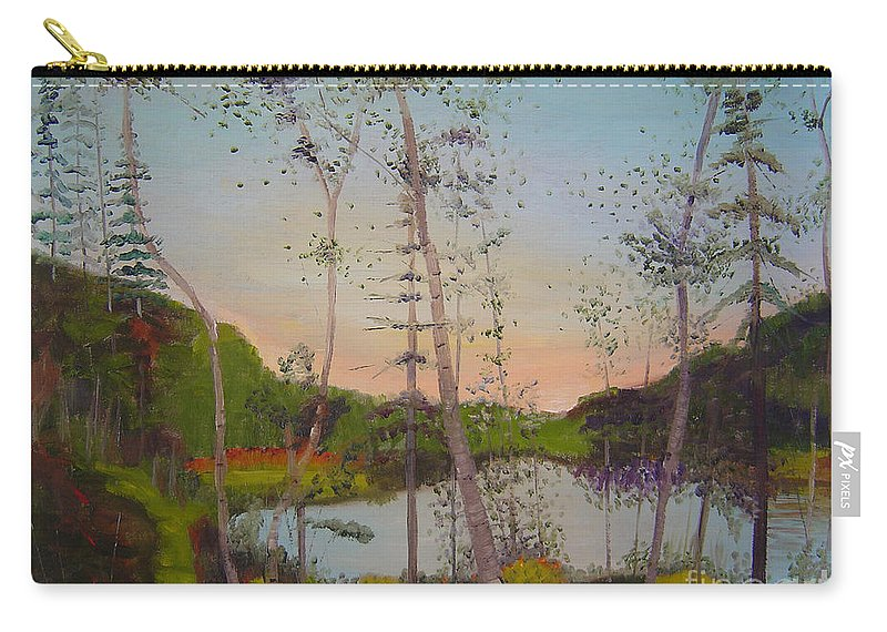 Landscape Carry-all Pouch featuring the painting Dawn by the Pond by Lilibeth Andre