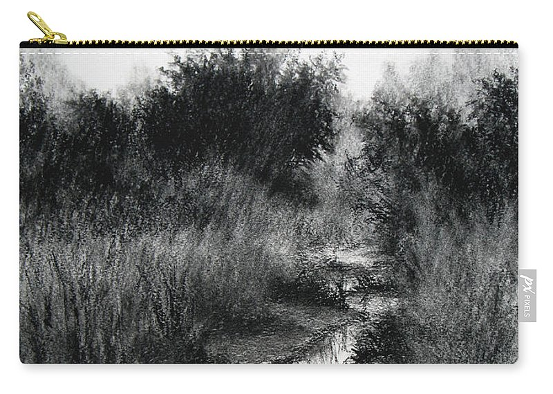 Charcoal Carry-all Pouch featuring the drawing Dawn Marsh by Keith Burgess