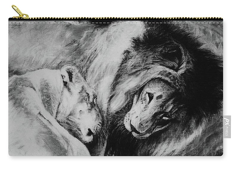 Creature Carry-all Pouch featuring the drawing Dawn's A Coming Open Your Eyes - Lions by Susie Gordon