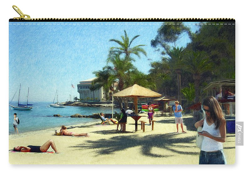 Beach Carry-all Pouch featuring the digital art Day At The Beach by Snake Jagger