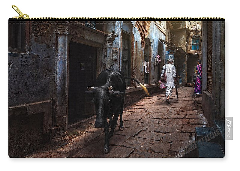 Varanasi Carry-all Pouch featuring the photograph Day In Varanasi by Fadhel Almutaghawi