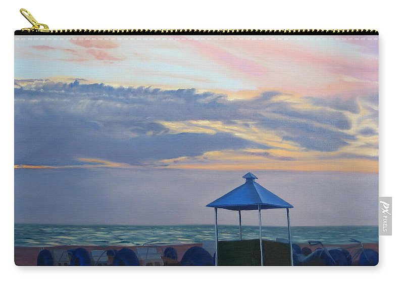 Sunset Carry-all Pouch featuring the painting Day Is Done by Lea Novak